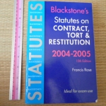 Blackstone's Statutes On Contract, Tort & Restitution 2004-2005 (15th Edition - 2004)