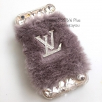 Louis Vuitton Grey เคสขนฟู iPhone 5/5S/SE