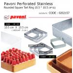 Pavoni Perforated Stainless Rounded Square Tart Ring 10.5 * 10.5 (XF 02)
