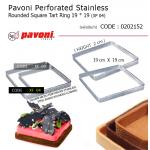 Pavoni Perforated Stainless Rounded Square Tart Ring 19* 19 (XF 04)