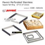 Pavoni Perforated Stainless Square Tart Ring 15*15 cm (XF151520)