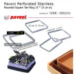 Pavoni Perforated Stainless Rounded Square Tart Ring 15 * 15 (XF 03)