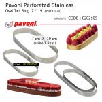 Pavoni Perforated Stainless Oval Tart Ring 7*19 cm (XFO197020)