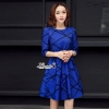 Korea Design By Lavida Miracle bow waist line printed chic dress