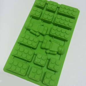 Lego Bricks Robot Mini Man Combination Silicone Ice Tray เขียว