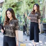 "CM308**สีดำ** ""รอบอก 42"" CHANEL HI-BRAND MAGNIFICENT PREMIUM LACE SHIRT"
