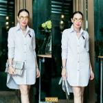 "TK2090**สีขาว**รอบอก 38-40"" Shirt Long burberry Luxury Cotton"