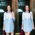 "TK2070**สีฟ้า**อก 40-42"" Shirt Long polo Luxury Cotton embroidery"
