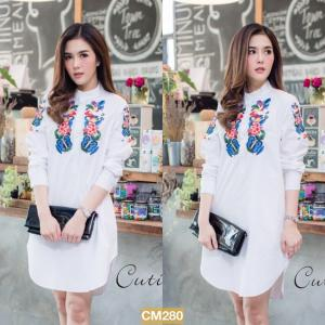 """CM280**สีขาว**รอบอก 44"""" LUXURIOUS COTTON EMBROIDERY BUTTERFLY AND FLOWER LONG SHIRT"""