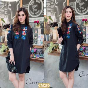"""CM280**สีดำ**รอบอก 44"""" LUXURIOUS COTTON EMBROIDERY BUTTERFLY AND FLOWER LONG SHIRT"""