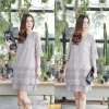 "CM331**สีเทา** ""รอบอก 42"" ZARA SIGNATURE LACE WITH PLEATS BOTTOM DRESS"