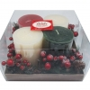 S/4 Holiday Value Set, Candle Ring, Acetate Box (Ivory / Red / Green) [กล่องสี่เหลี่ยม Square]