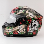 MT Revenge Skull & Roses - Gloss Black / Red