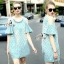 Sevy Star Stripped Cut Shoulder Denim Mani Dress With Necklace thumbnail 1