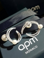 Apm diamond with pearl EarringฝังCZแท้Hademade
