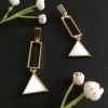 White triangle small drop earrings