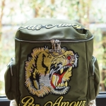 Tiger and Slogan Embroidered canvas backpack
