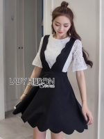 พร้อมส่ง ~ Lady Grace While Lace Top with Black Scalloped Dress