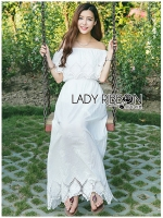 พร้อมส่ง ~ Lady Floral Embroidered and Laser-Cut Off-Shoulder Maxi Dress