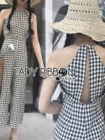 พร้อมส่ง ~ Lady Penelope Holiday Back Cut-Out Black & White Check Jumpsuit