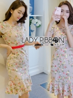 พร้อมส่ง ~ Lady Kelly Spring Flower Embroidered Beige Crepe Dress