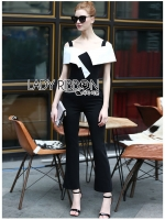 พร้อมส่ง ~ Lady Nat Minimal Chic Off-Shoulder Black and White Crepe Jumpsuit
