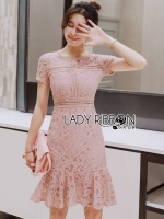 พร้อมส่ง ~ Lady Kimberley Swirl Baby Pink Mini Dress