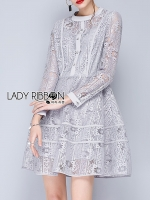 พร้อมส่ง ~ Lady Glenda Embellished Pale Grey Lace Dress