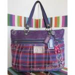 กระเป๋า COACH มือสอง COACH Poppy Purple Plaid Tartan glam Tote Purse 15886 satchel diaper Limited Edition