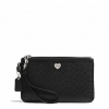 กระเป๋าคล้องแขน  Coach F51677 SV/BK Perforated Liquid Gloss Med Wristlet