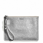 กระเป๋า coach 51397 SV/WT bleecker flat zip case in metallic crackle canvas