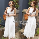 Lady Fiona Easy Casual White Cotton and Lace Jumpsuit with Ribbon