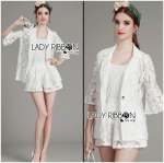 Lady Edita 3-Piece White Jacket and Shorts Set