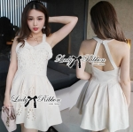 Lady Annette Pearl Embellished Laser-Cut Apron Dress in White