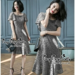 Luxurious Grey Lace Flared Sleeves Dress