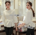 Lady Alicia White Flower Bead Embroidered White Cotton Blouse with Ribbon