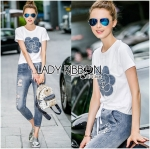 Lady Coco Camellia Denim Embroidered T-Shirt and Skinny Jeans Set