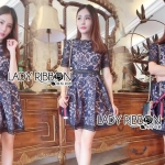 Lady Natalie Sophisticated Chic Navy Blue and Nude Self-portrait Lace Dress