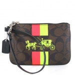 สินค้าพร้อมส่ง : กระเป๋า COACH F52704 SMALL WRISTLET WITH STRIPE IN SIGNATURE CANVAS (Brown/Neon)