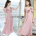 Lady Miranda Pleated Ruffle Pale Pink Chiffon Dress