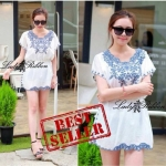 Lady Melisa Sweet Baby Blue Garden Embroidered Mini Dress