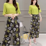 Daisy light green with flower black pants set