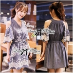 Lady Elie Casual Cut-Out Lace Embroidered Dark Denim Dress