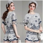 Lady Olivia Blue and White Flower Laser-Cut Cropped Top and Shorts Set