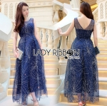 Lady Joanna Glittery Crystal Embroidered Navy Blue Tulle Evening Gown
