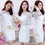 Lady Korean temperament Slim lace dress solid Through sweet by Aris Code