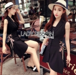 Lady Meridit Minimal Elegant Sleeveless Black Suit Dress