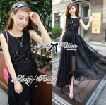 Lady Ellen Insert Lace Chiffon Maxi Dress (สีดำ)