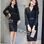 Elegant demeanor Black curvature Lace Dress