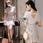 Lady Pure White Flower Embroidered Peplum Dress